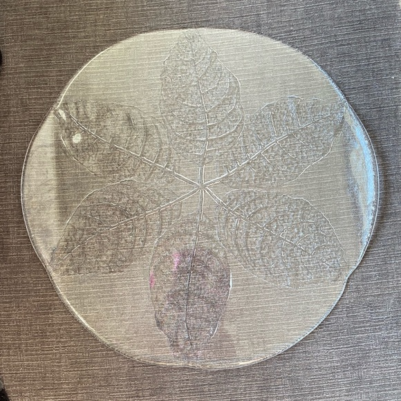 Kosta Boda etched leaf glass platter/cheese plate